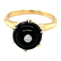 14K Yellow Gold Round cut Onyx and Diamond Ring