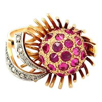 14K Yellow Gold Ruby Ball and Abstract Ring