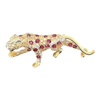 14K Yellow Gold Round cut Ruby and Diamond Tiger Brooch
