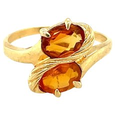 14K Yellow Gold Oval cut Citrine Ring