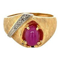 14K Yellow Gold Oval cut Star Ruby and Diamond Dome Ring