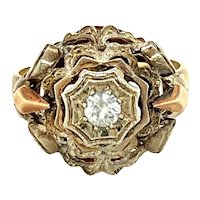 14K Yellow Gold Round cut Diamond Floral Ring