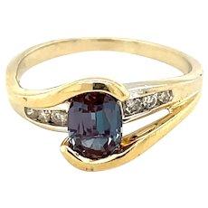 14K Yellow Gold Oval cut Alexandrite and Diamond Ring