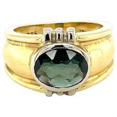 14K Yellow Gold Oval cut Alexandrite Signet Ring