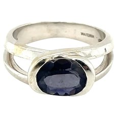 14K White Gold Oval cut Sapphire Solitaire Ring