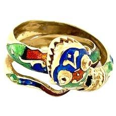 14K Yellow Gold Enamel Snake Ring