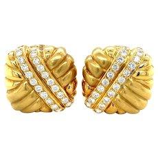 18K Yellow Gold Full cut Diamond Square Clip-on Earrings