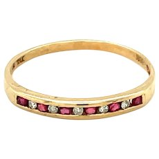 10K Yellow Gold Ruby and Diamond Band