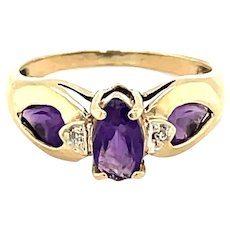 10K Yellow Gold Marquise cut Amethyst Ring