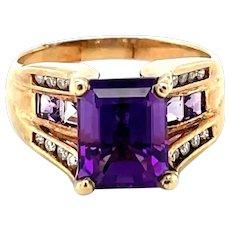 10K Yellow Gold Emerald cut Amethyst and Diamond Ring