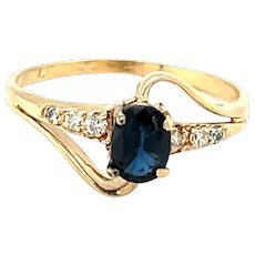14K Yellow Gold Oval cut Sapphire and Diamond Ring
