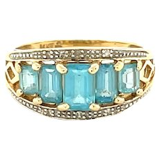 14K Yellow Gold Emerald cut Blue Topaz Band
