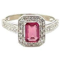 14K White Gold Emerald cut Tourmaline and Diamond Ring