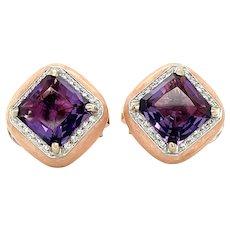 Bonato & Massoni 18K White and Rose Gold Amethyst, Diamond and Enamel Clip on Earrings