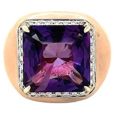 Bonato & Massoni 18K White and Rose Gold Amethyst, Diamond and Enamel Statement Ring