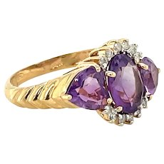 14K Yellow Gold Oval cut Amethyst and Diamond Ring