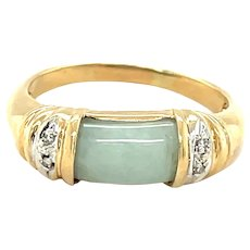 14K Yellow Gold Jade and Diamond Band
