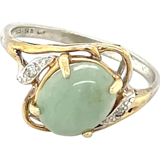 14K White and Yellow Gold Oval cut Jade Ring