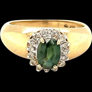 14K Yellow Gold Oval cut Peridot and Diamond Ring
