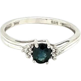 10K White Gold Oval cut Sapphire and Diamond Ring