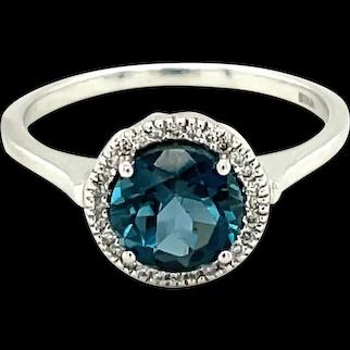 10K White Gold Round cut Blue Topaz and Diamond Ring