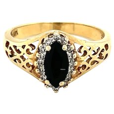 14K Yellow Gold Marquise cut Onyx and Diamond Ring