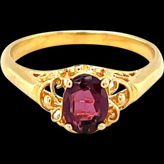 14K Yellow Gold Oval cut Amethyst Ring