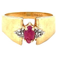 14K Yellow Gold Marquise cut Ruby and Diamond Ring