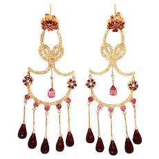 18K Gold Tourmaline Diamond Earrings