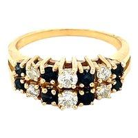 14K Yellow Gold Round cut Diamond and Sapphire Ring