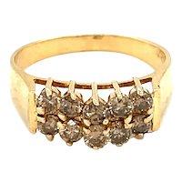 14K Yellow Gold Round cut Brown Diamond Ring