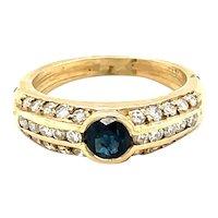 14K Yellow Gold Round cut Sapphire and Diamond Gypsy Ring