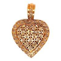 18K Gold Diamond Heart Pendant