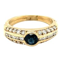 14K Yellow Gold Round cut Sapphire and Diamond Ring
