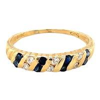 14K Yellow Gold Sapphire and Diamond Band