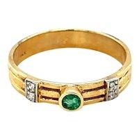 14K Yellow Gold Round cut Emerald and Diamond Ring