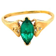 10K Yellow Gold Marquise cut Emerald Ring