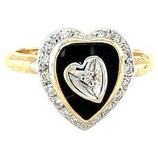 14K Yellow Gold Diamond and Onyx Heart Ring