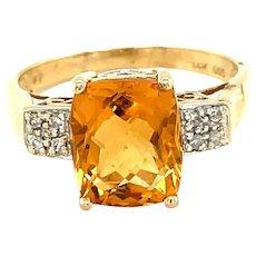 14K Yellow Gold Cushion cut Citrine and Diamond Ring