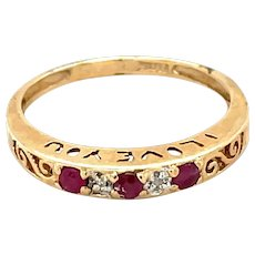 10K Yellow Gold Ruby and Diamond 'I Love You' Band