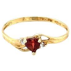 10K Yellow Gold Heart cut Ruby and Diamond Ring