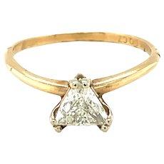 14K Yellow Gold Trillion cut Diamond Solitaire Ring