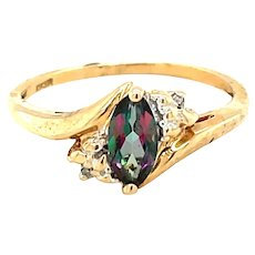 10K Yellow Gold Marquise cut Mystic Topaz Ring