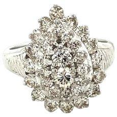 18K White Gold Round cut Diamond Pear Statement Ring
