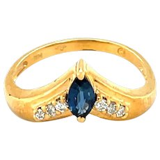 14K Yellow Gold Marquise cut Sapphire and Diamond Ring
