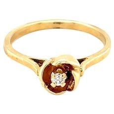 14K Yellow Gold Round cut Diamond Rose Ring