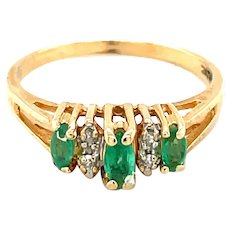 14K Yellow Gold Marquise cut Emerald and Diamond Ring