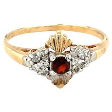 14K Yellow Gold Round cut Garnet and Diamond Ring
