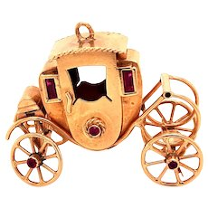 18K Gold Antique Buggy Charm