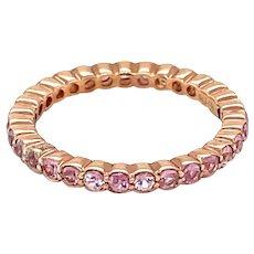 14K Rose Gold Round cut Pink Sapphire Band